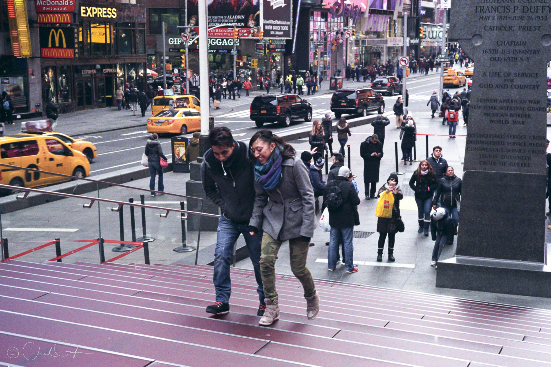 Times Square Tourists Walking Up TDK Steps NYC (Image by Chad Gayle)